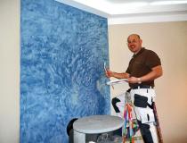 Marmorwand Blau